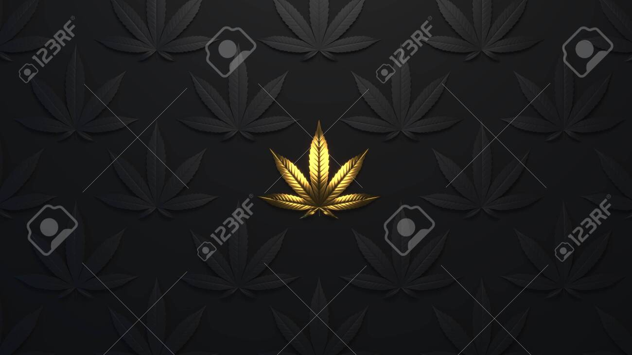 Luxury Golden Background With Cannabis Leaves Minimal Trendy