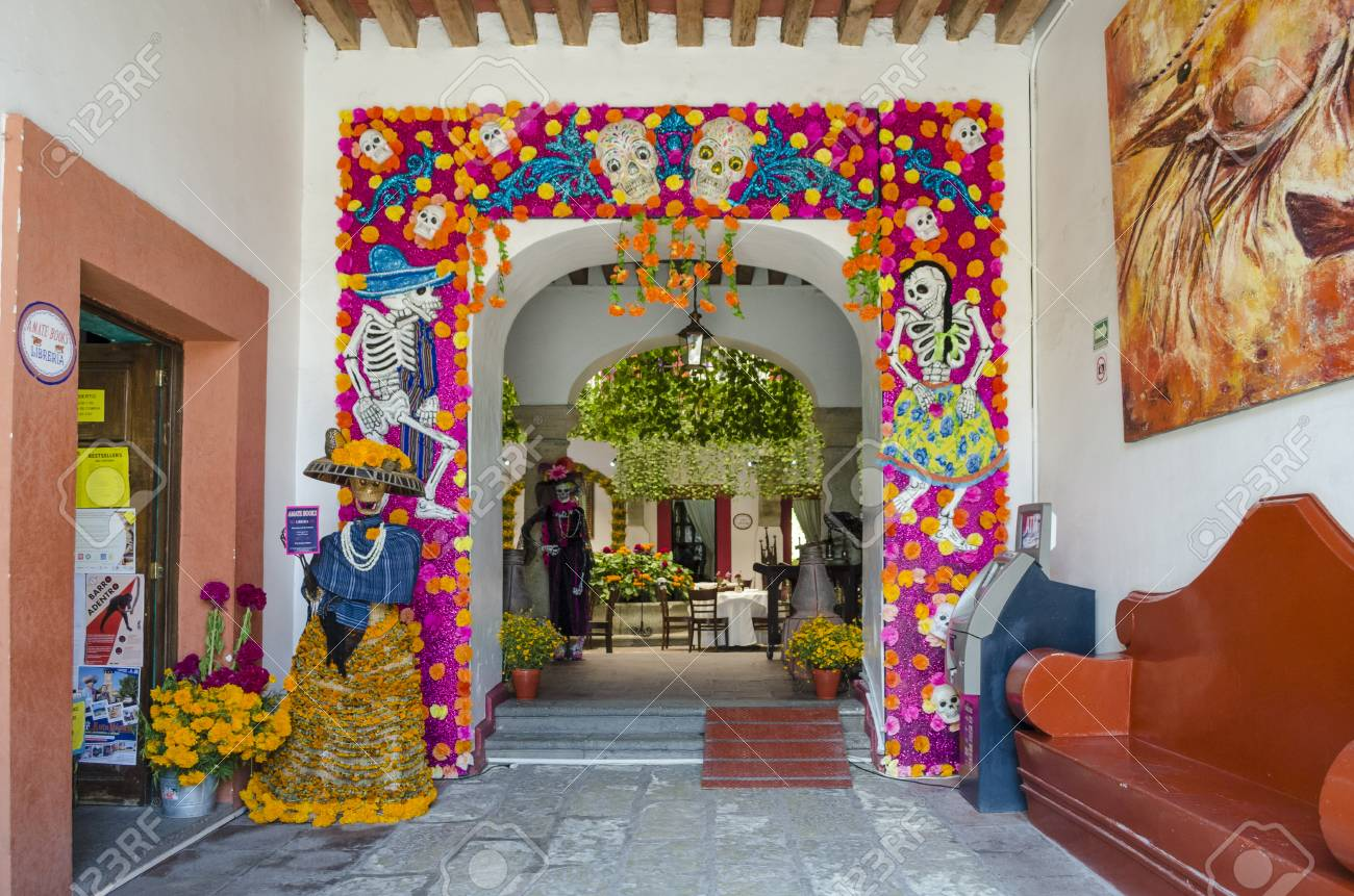 OAXACA MEXICO OCTOBER 30 2017 Colorful Decoration With Skulls And