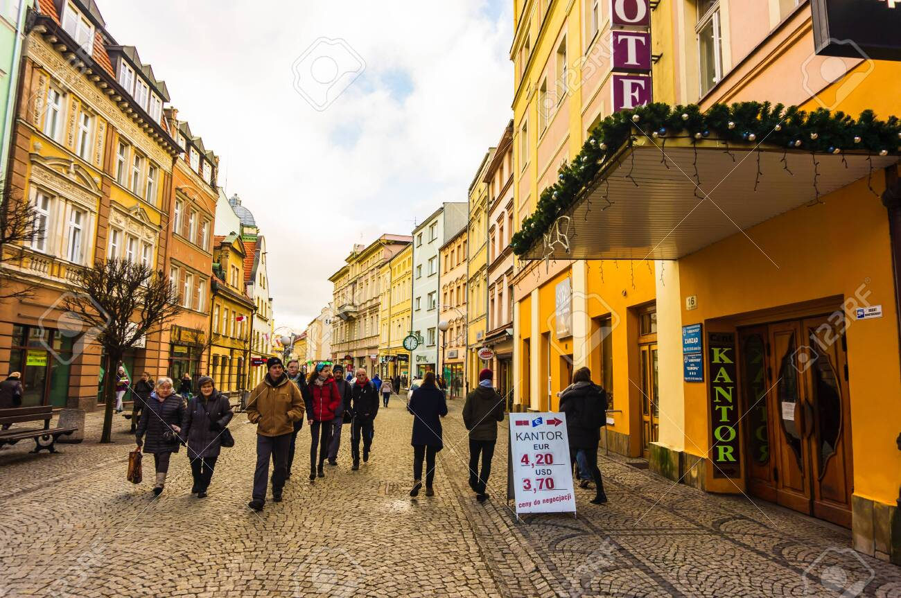 Jelenia Gora, Poland - December 31, 2018: Information sign showing