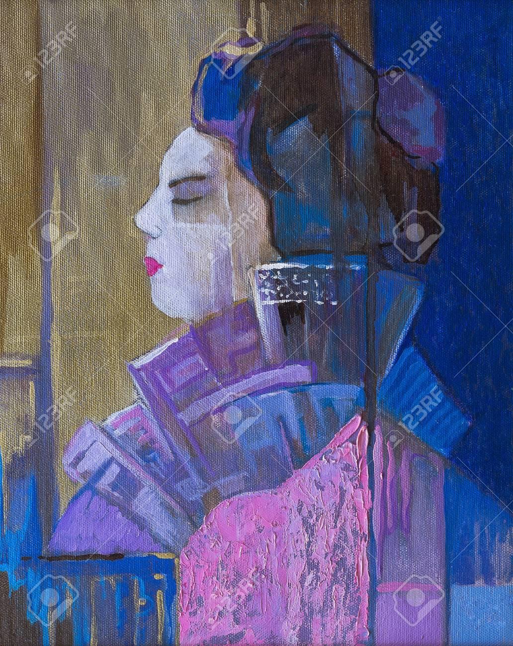 Original oil paintings on canvas  Beautiful geisha in profile Stock Photo - 19564188
