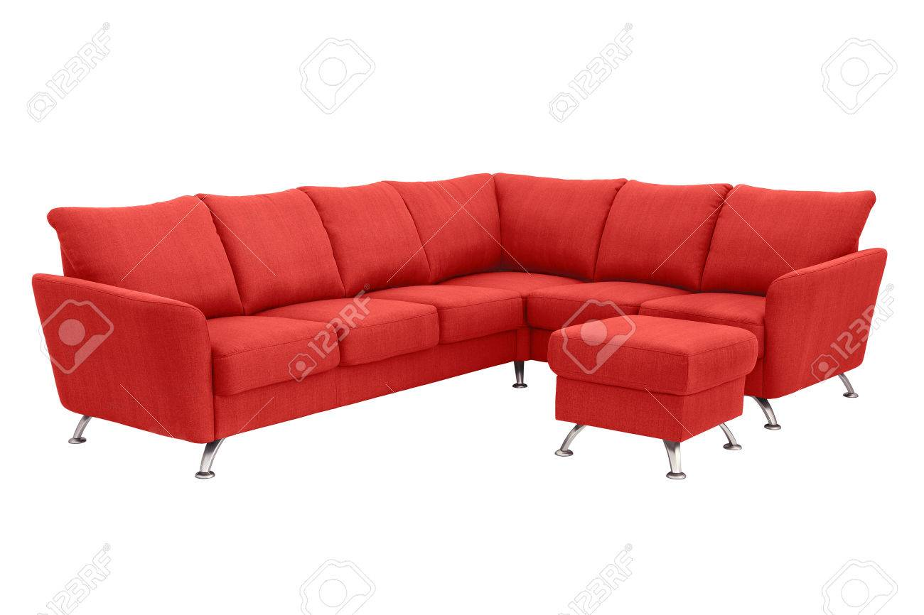 Red Corner Sofa Up To 5 Persons With A Leg Support. Stock Photo ...