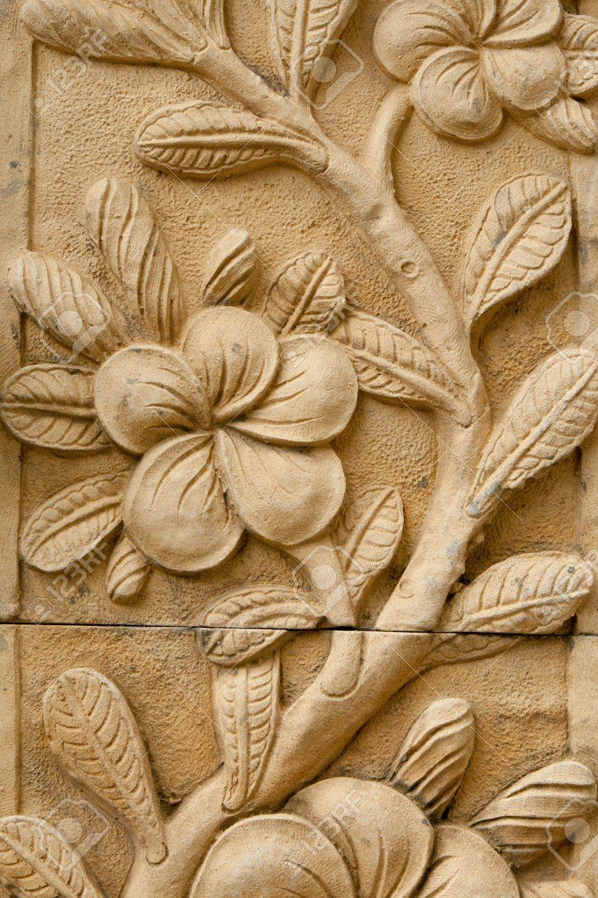 Flower carving decorated stock photo picture and royalty free image