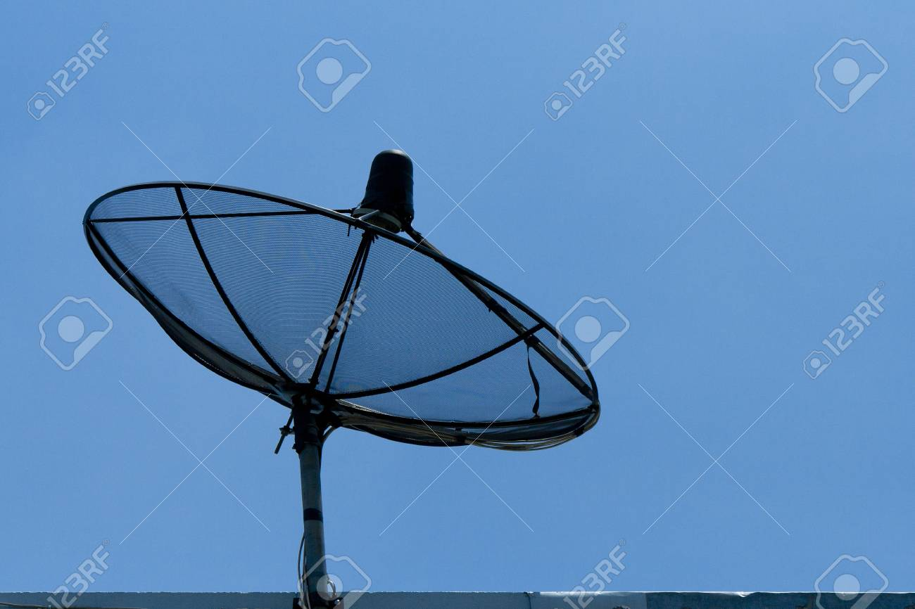 satellite dish in blue sky stock photo picture and royalty free