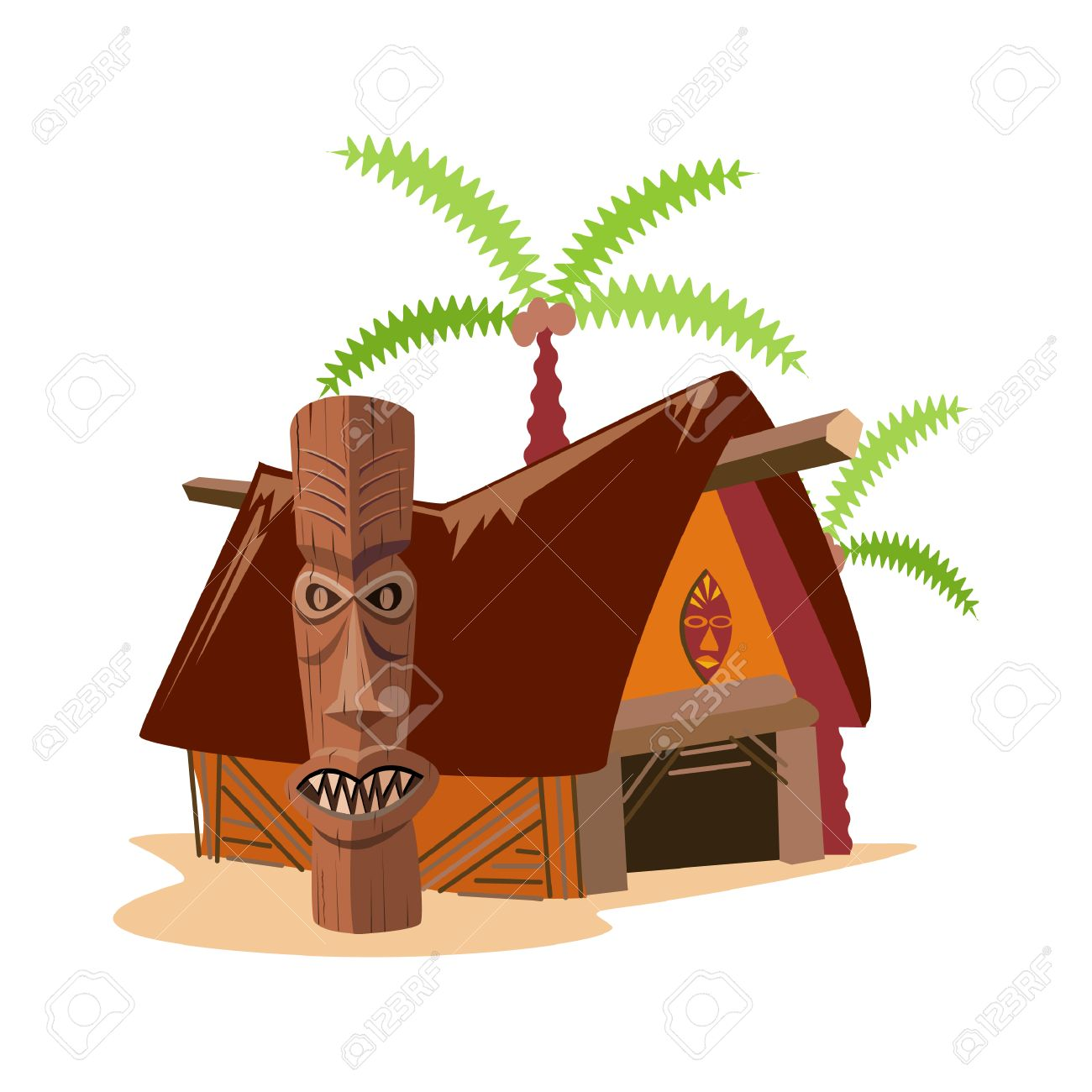 tiki hut royalty free cliparts vectors and stock illustration rh 123rf com tiki hut clip art free tiki hut clipart free