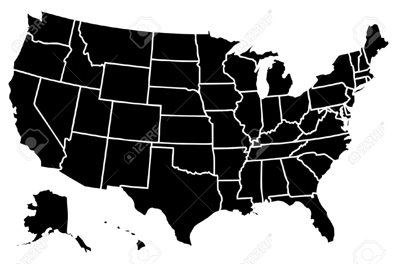 High Detailed Vector Map United States Stock Vector 40376708
