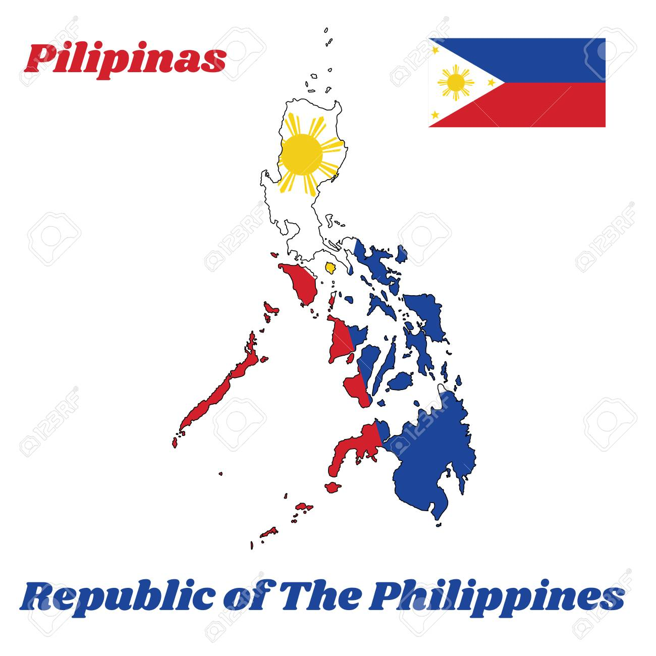 Map Outline And Flag Of Philippines A Horizontal Bicolor Of
