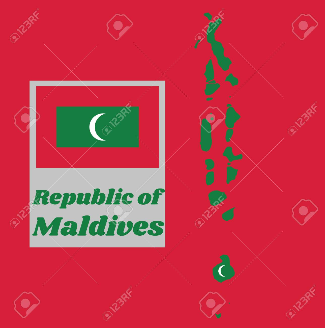 Map Outline And Flag Of Maldives Green With A Red Border The