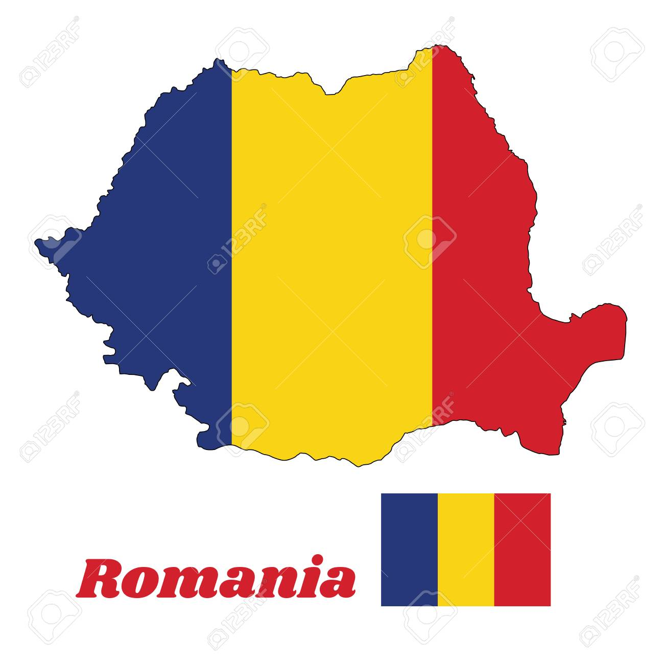 Map Outline And Flag Of Romania A Vertical Tricolor Of Blue
