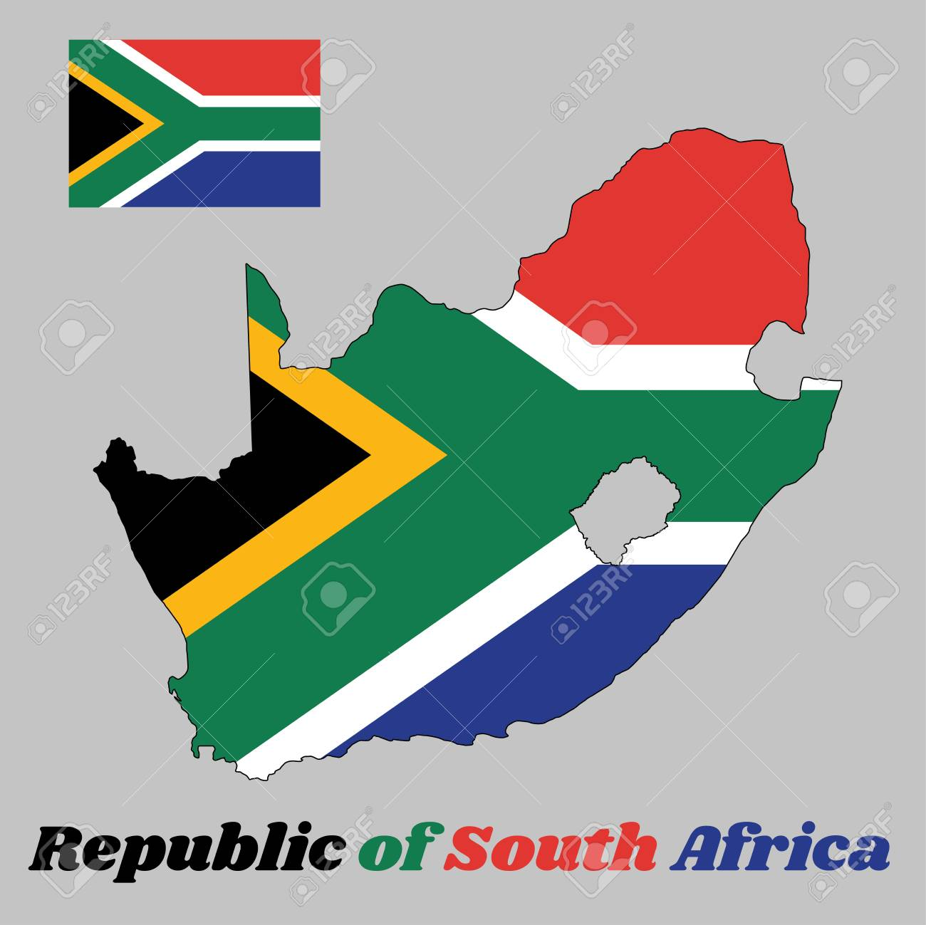 Map Outline And Flag Of South Africa A Horizontal Of Red And