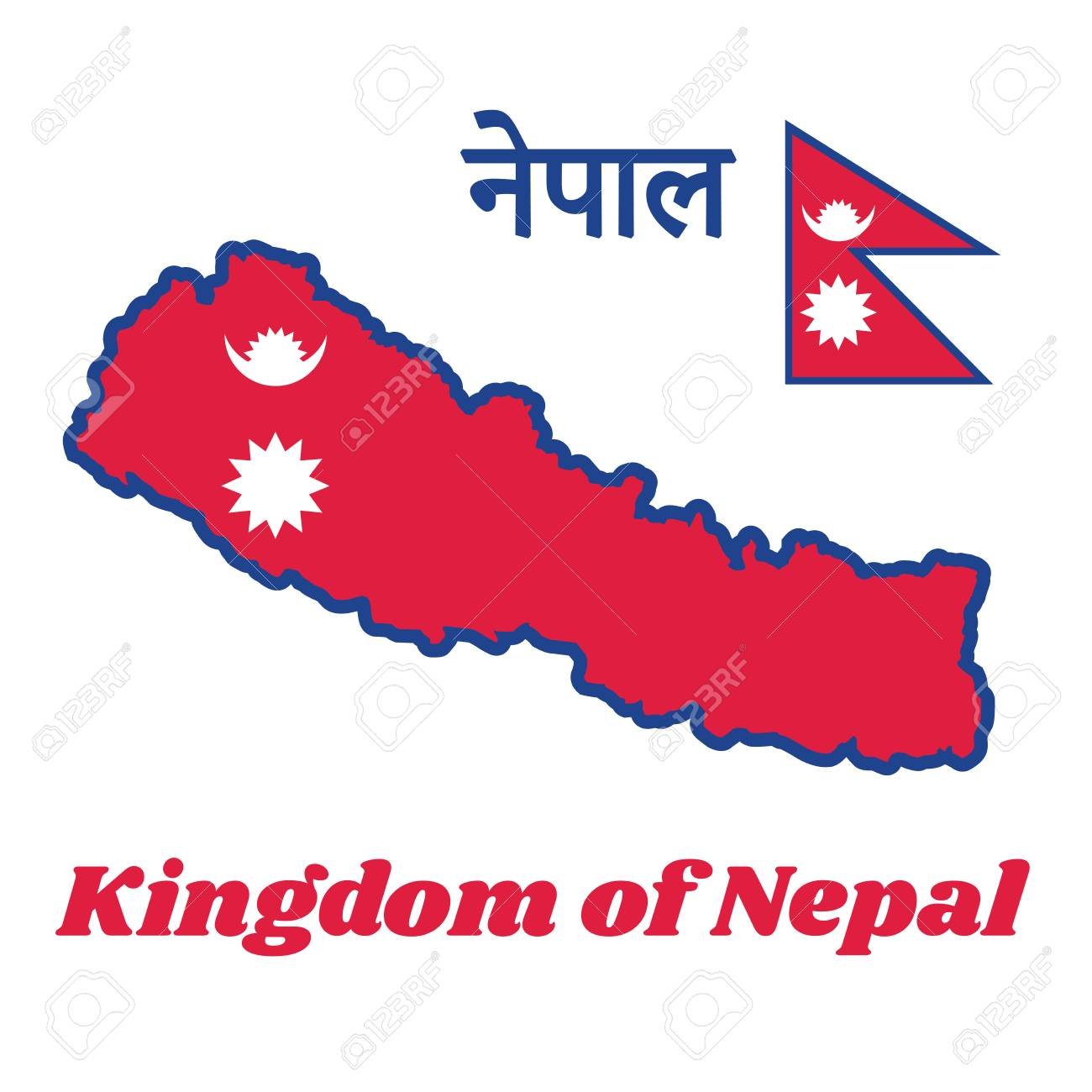 Map outline and flag of Nepal, two red blue triangles: the smaller..