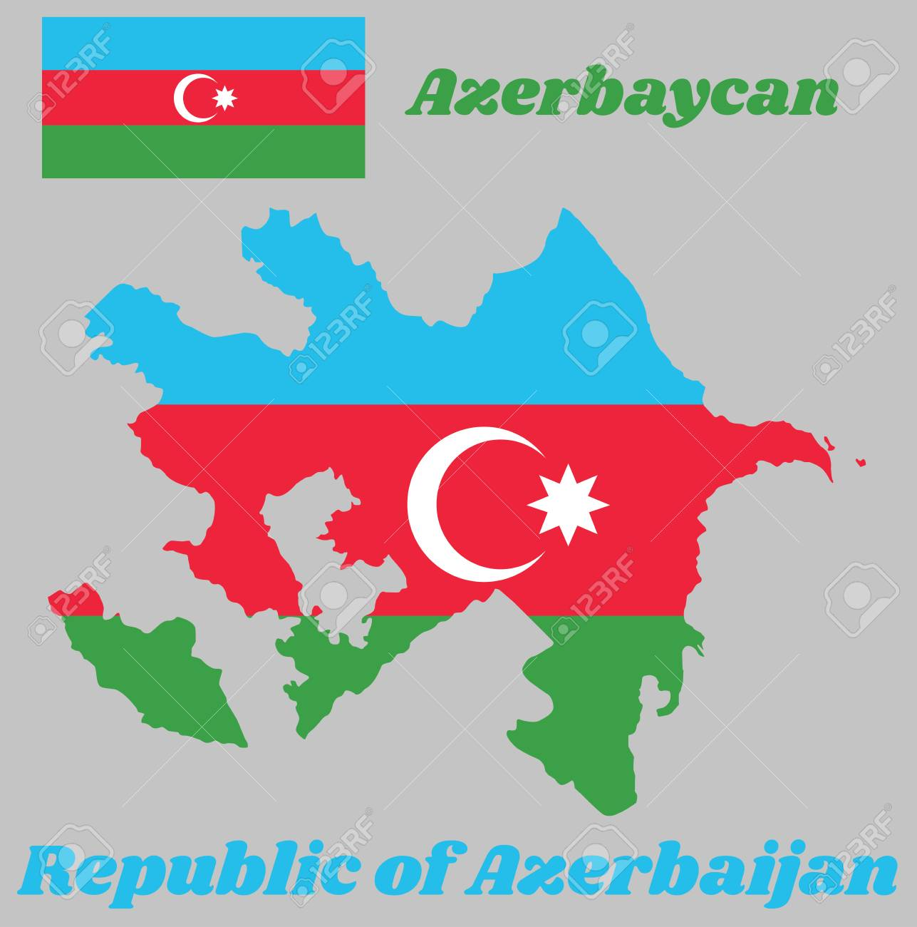 Map Outline And Flag Of Azerbaijan A Horizontal Tricolor Of Royalty Free Cliparts Vectors And Stock Illustration Image 105741412