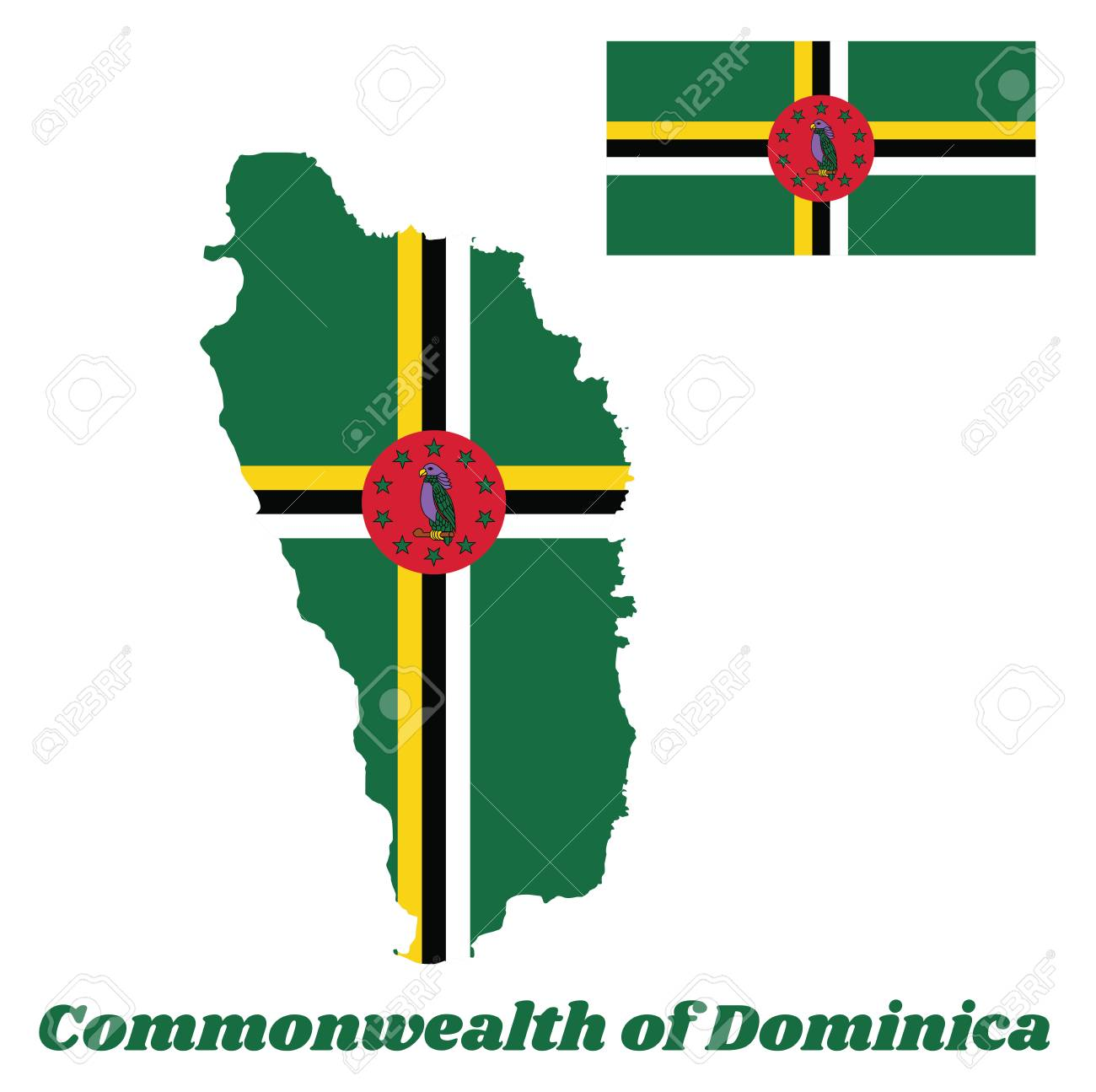 Map Outline And Flag Of Dominica A Green Field With The Centred
