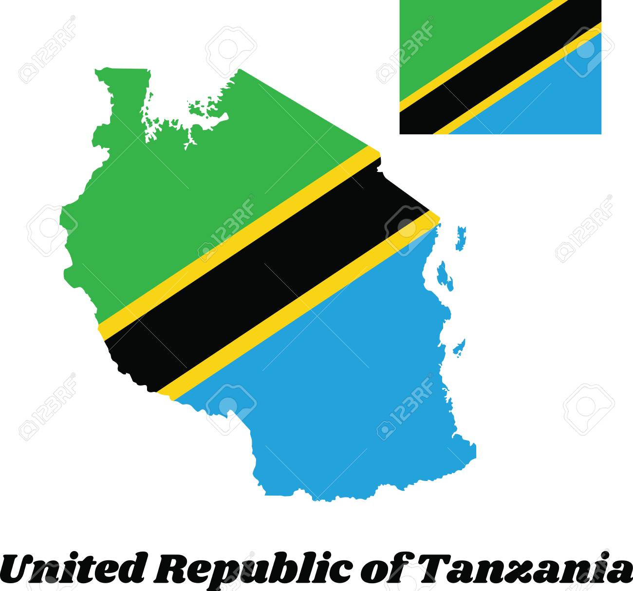 Map outline and flag of Tanzania, A yellow-edged black diagonal