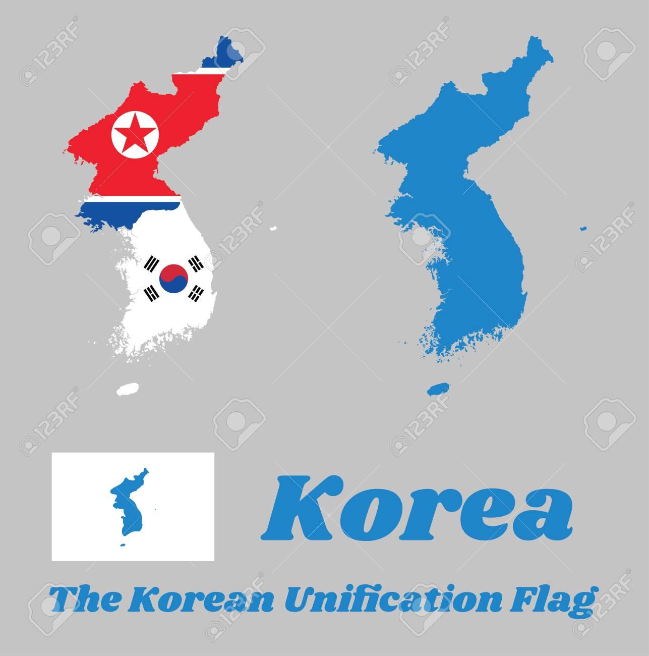 Map Outline Of North Korea, South Korea And Korean Peninsula ...