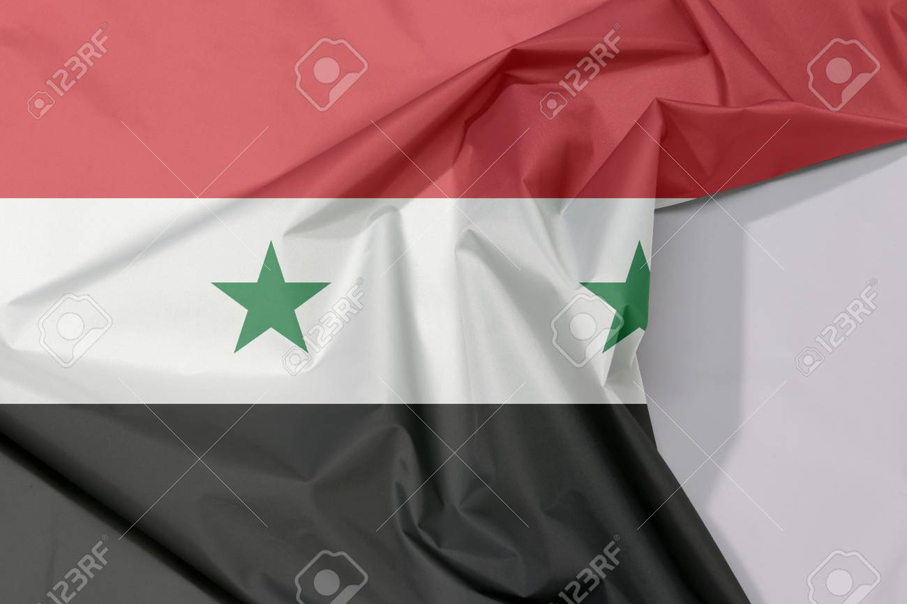 Syrian Arab Republic Fabric Flag Crepe And Crease With White