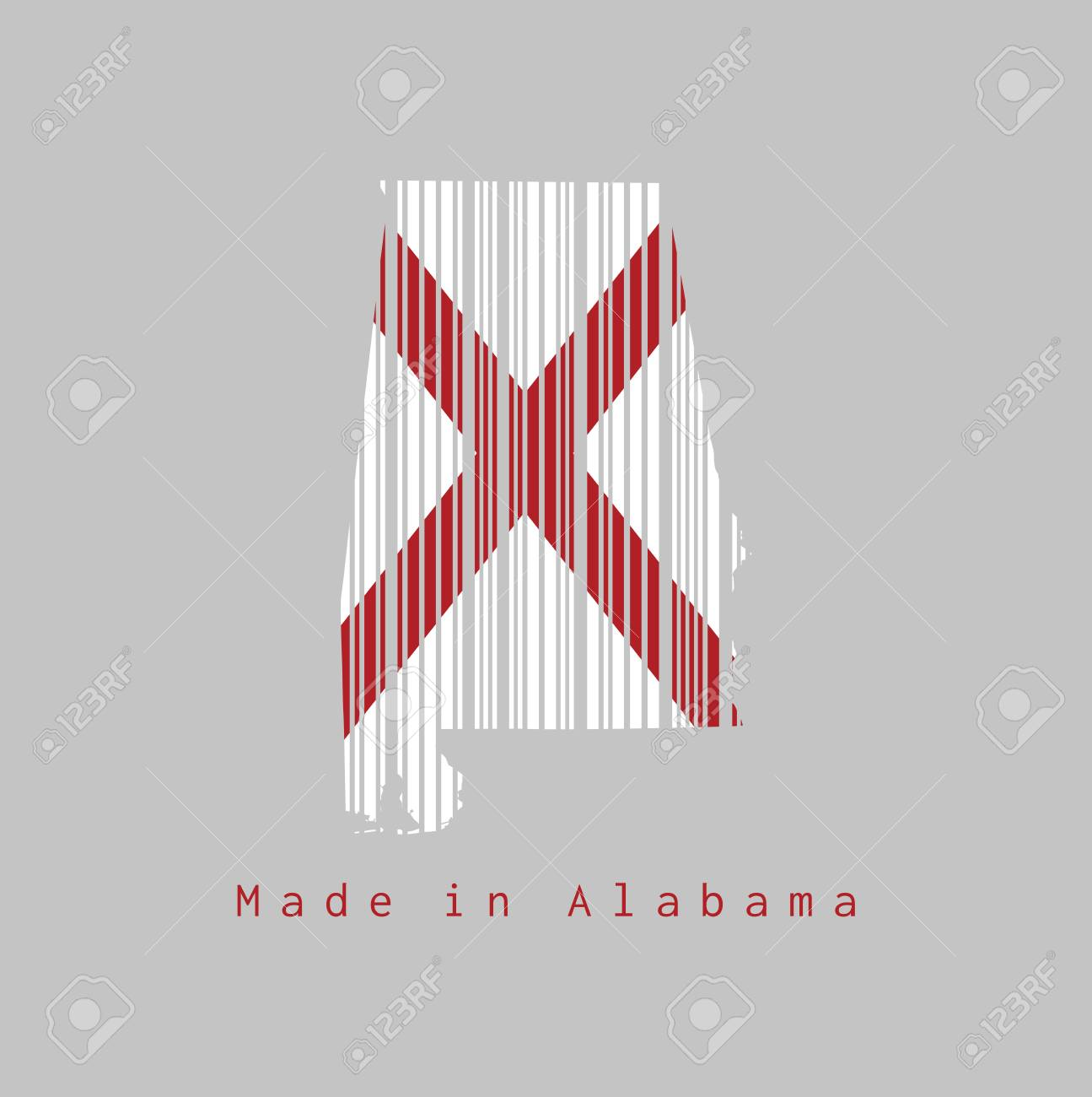 Barcode set the shape to Alabama map outline and the color of