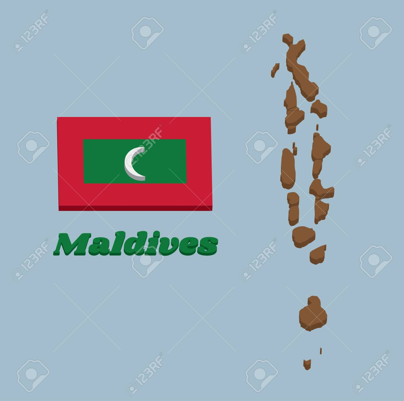 3d Map Outline And Flag Of Maldives Green With A Red Border