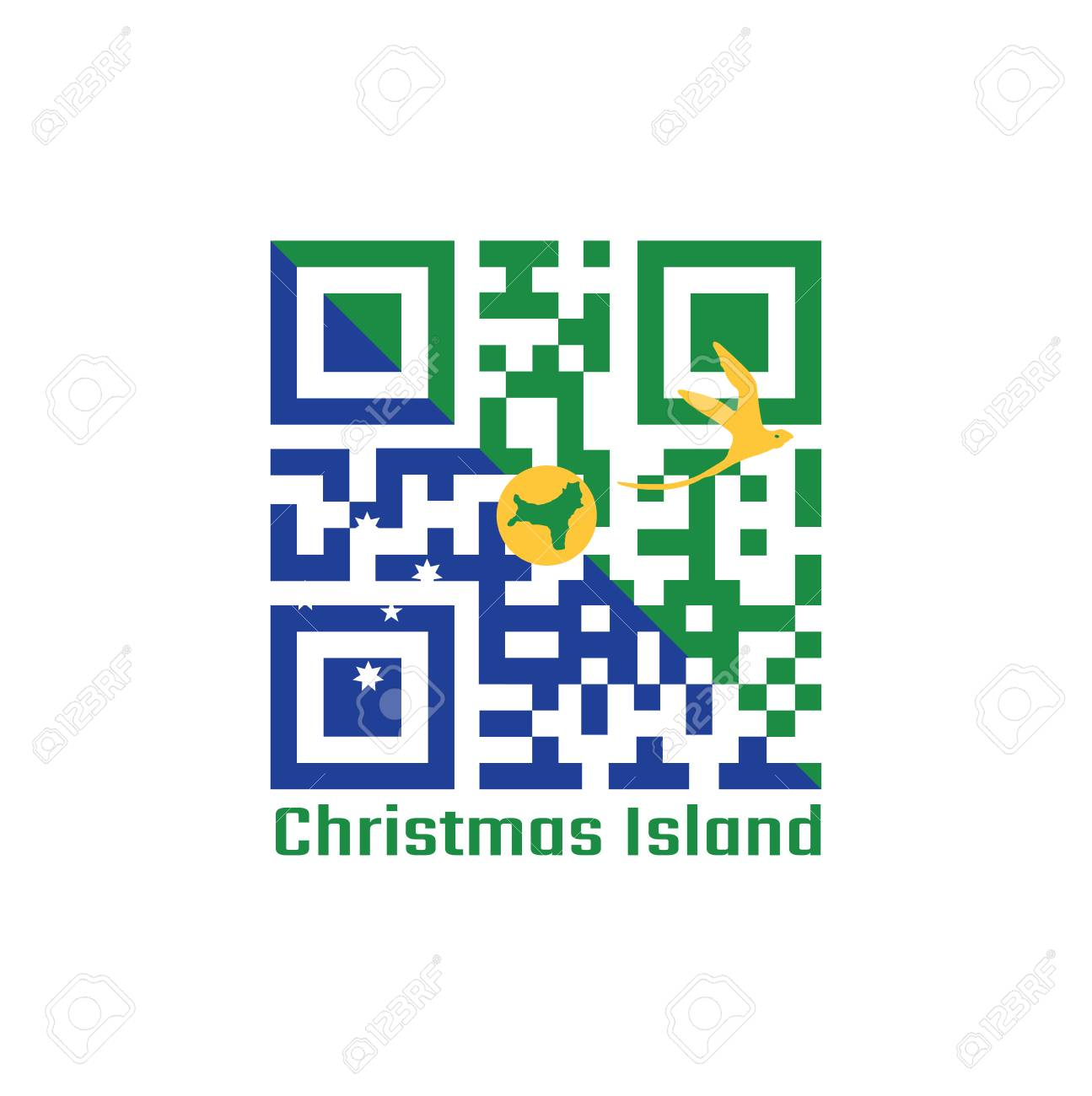 Christmas Island Flag.Qr Code Set The Color Of Christmas Island Flag Blue And Green