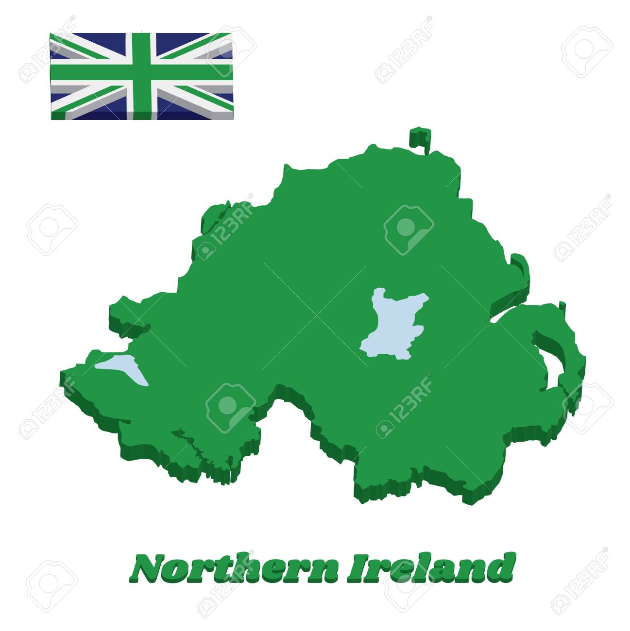 Map Of Ireland 3d.3d Green Map Outline And Flag Of Northern Ireland Green Union