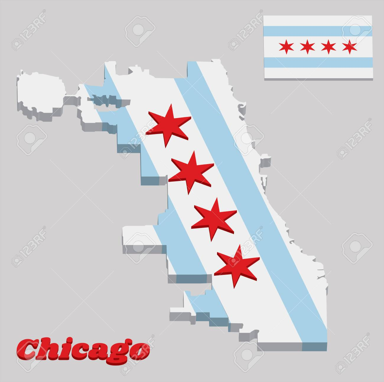 3D Map Outline And Flag Of Chicago, The City Of Chicago Is The ... Chicago Outline Map on