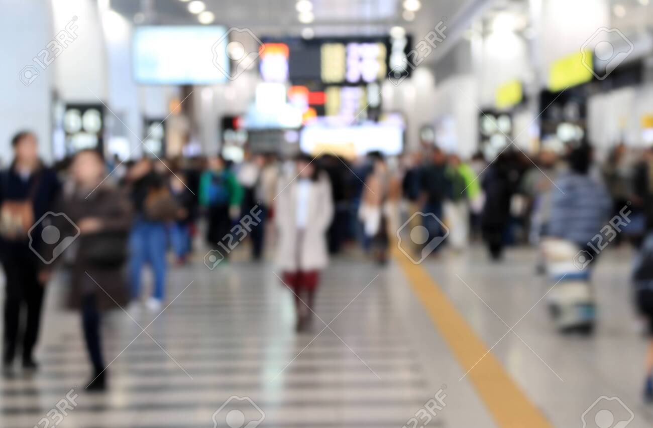 Blur style of many people in the train station at japan. Abstract Background Blurred Image, People hurry at the railway. - 152409982