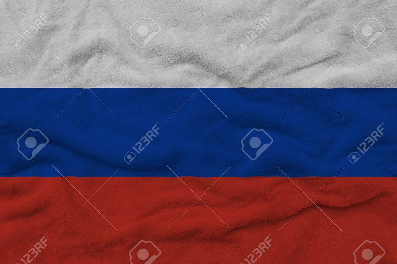 Russian flag pattern on towel fabric, National flag of Russia on fabric texture. - 158753356