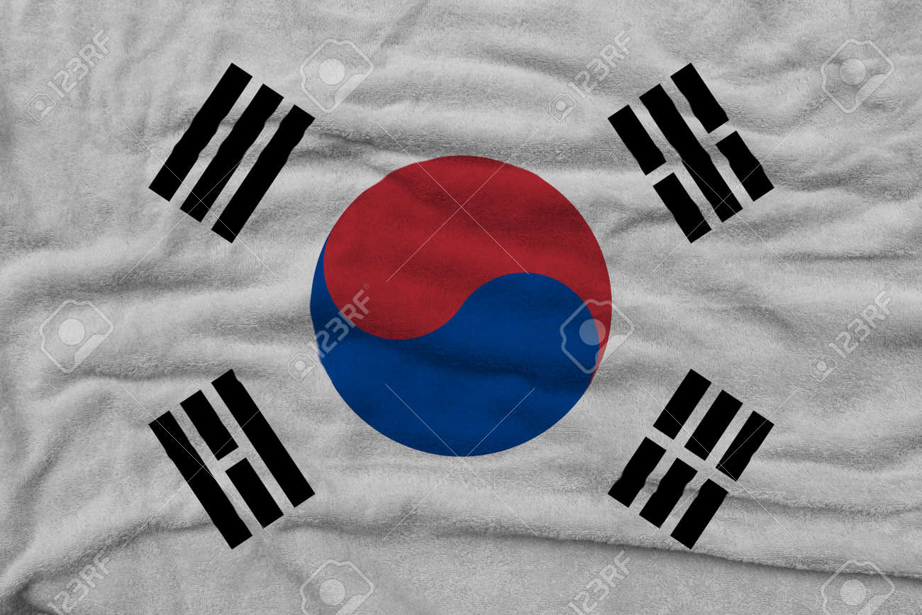 South Korean flag pattern on towel fabric, National flag of South Korea on fabric texture. - 159053100