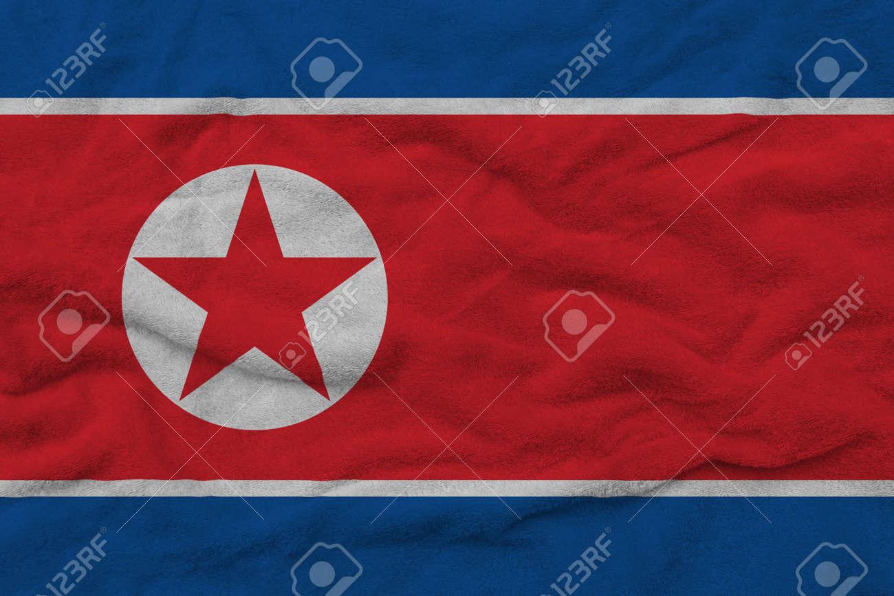 North Korean flag pattern on towel fabric, National flag of North Korea on fabric texture. - 159053641