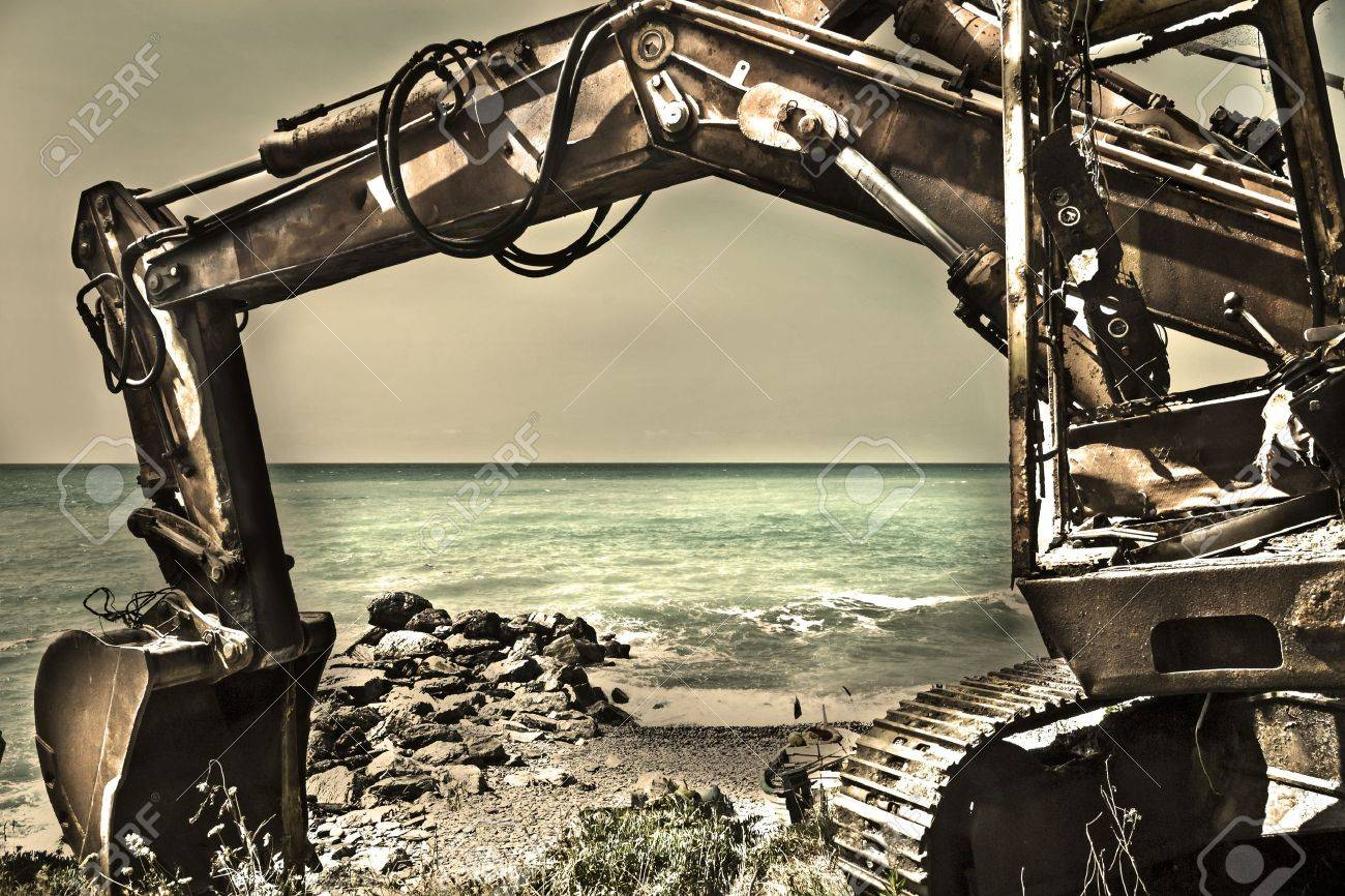 Heavy Duty Construction Equipment Parked at Worksite Stock Photo - 14686652