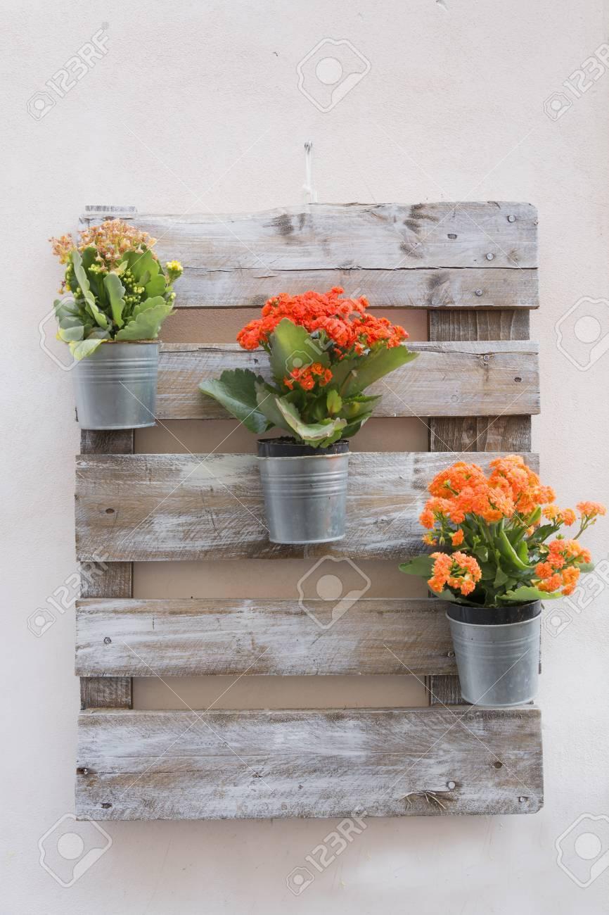 Arreglos Florales En Tarros De Estaño Montados En Una Placa De Madera