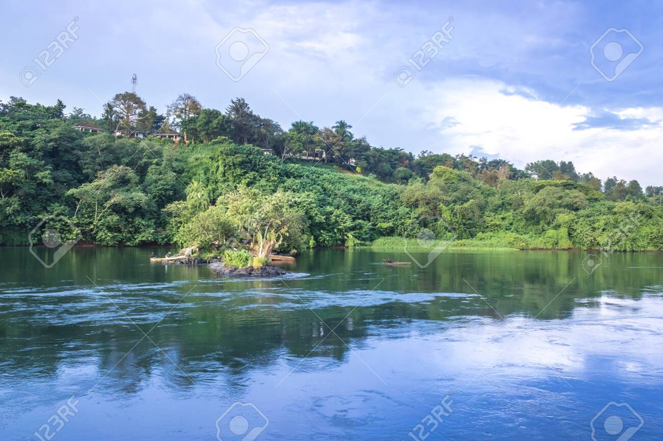 Sunset view of the Victoria Nile river, with trees growing and the reflections on the water, Jinja, Uganda, Africa - 150363311