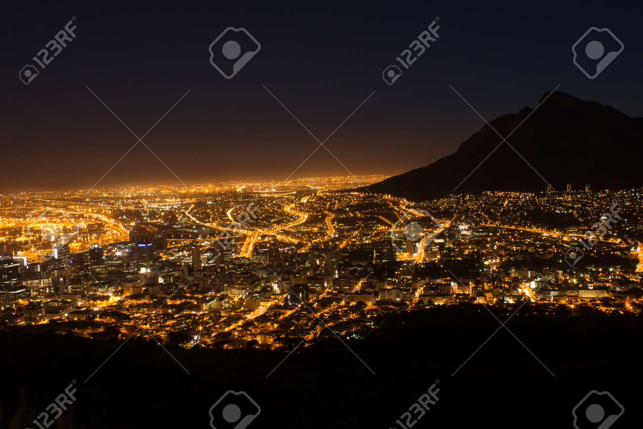 View of Table Mountain and Cape Town City at sunrise on a beautiful morning, Cape Town, South Africa - 151322760
