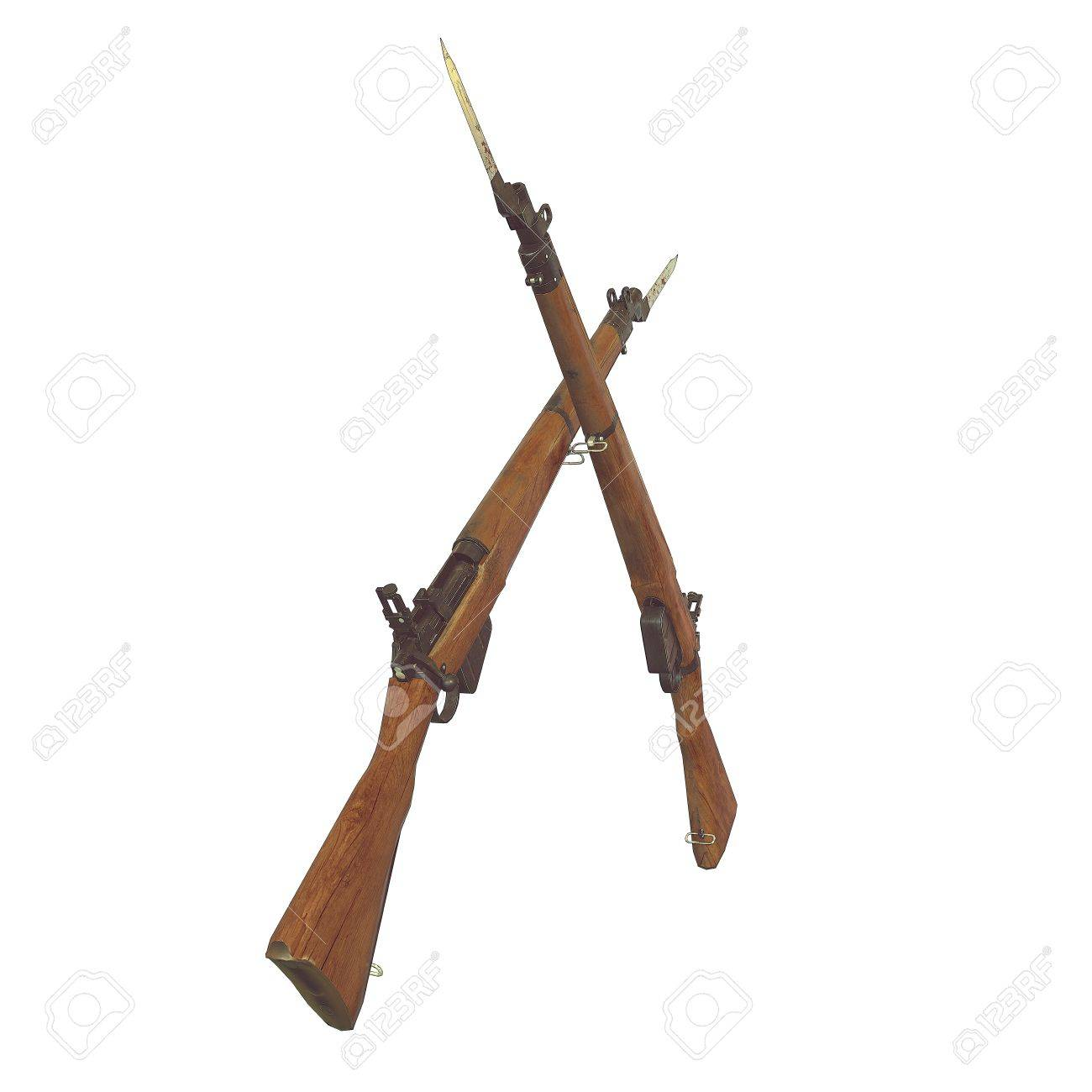 Old Rifles 3d Illustration Cross Weapons Icon Guns Cracked