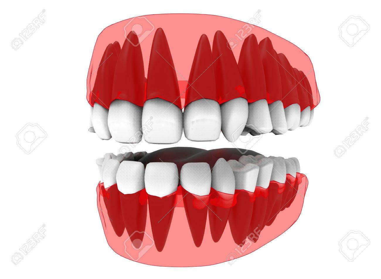 3d Illustration Of Closed Gum With Teeth And Tongue Icon For