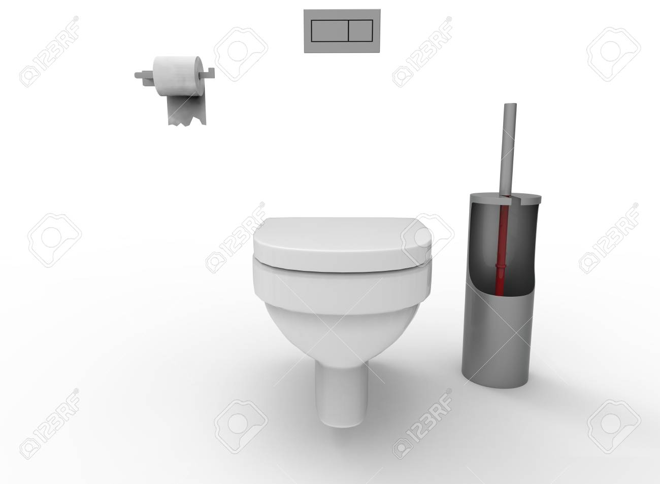 3d Illustration Of Toilet. White Background Isolated. Icon For ...