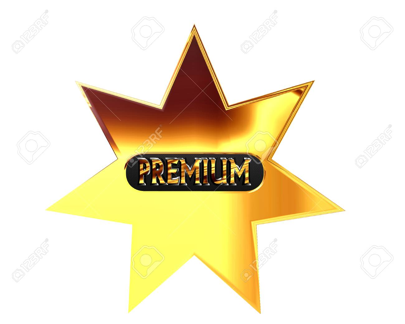 3d illustration gold star with premium text on a white background