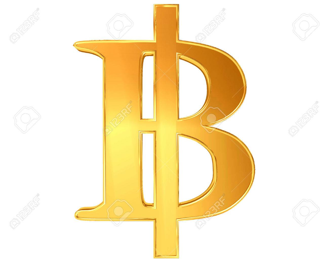 The Sign And Symbol Of The Thai Baht Bitcoins On A White Background