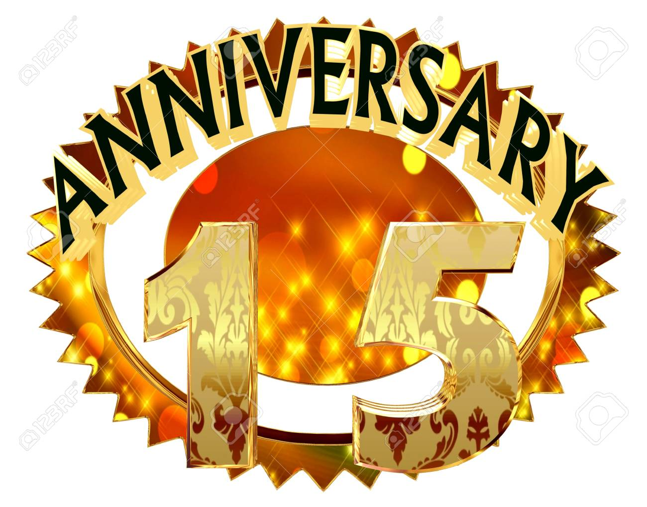 3d Rendering Text Anniversary With A Date Of 15 Years On A