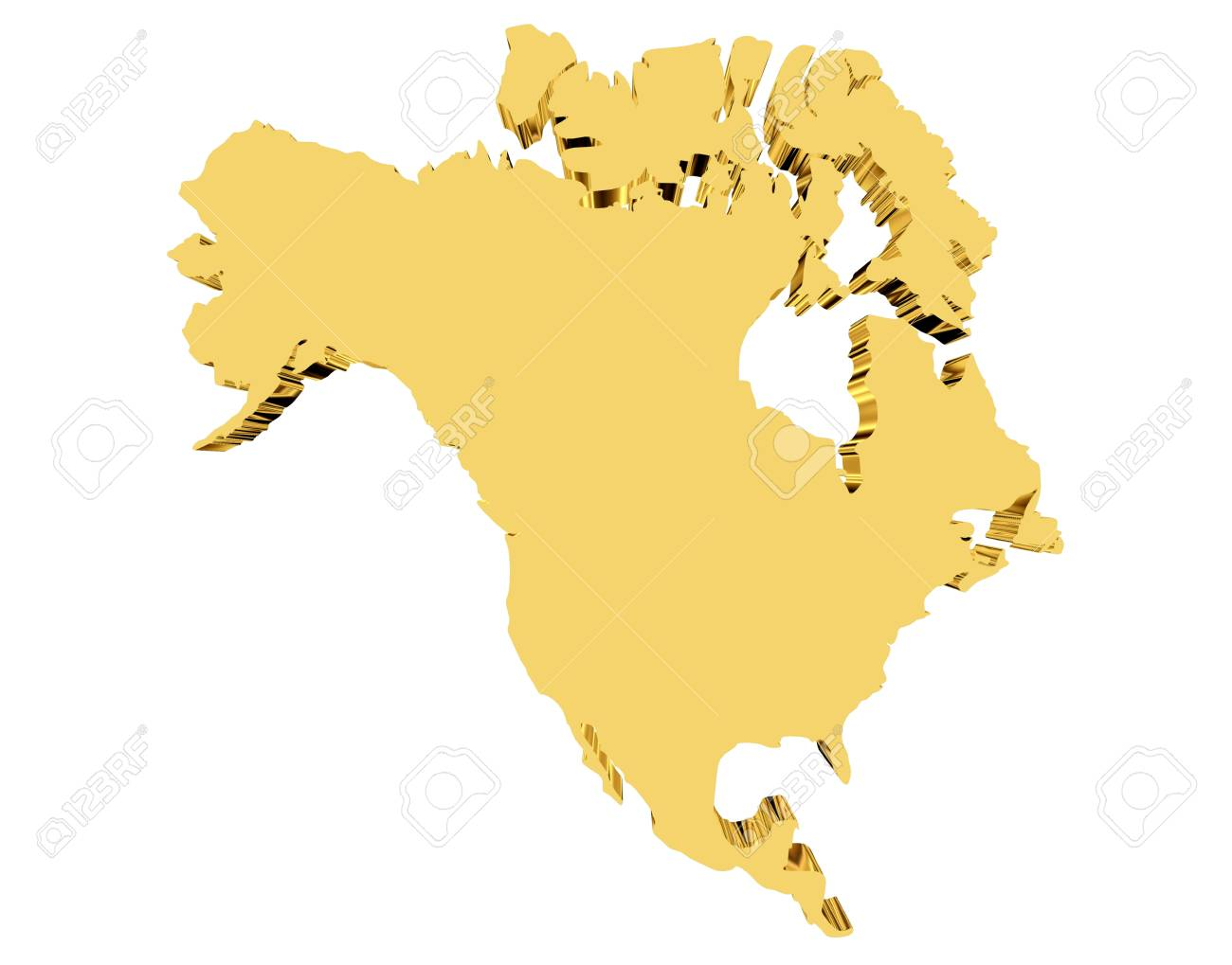 Canada Gold Map 3d Rendering. Gold Map Of Canada And America On A White Background
