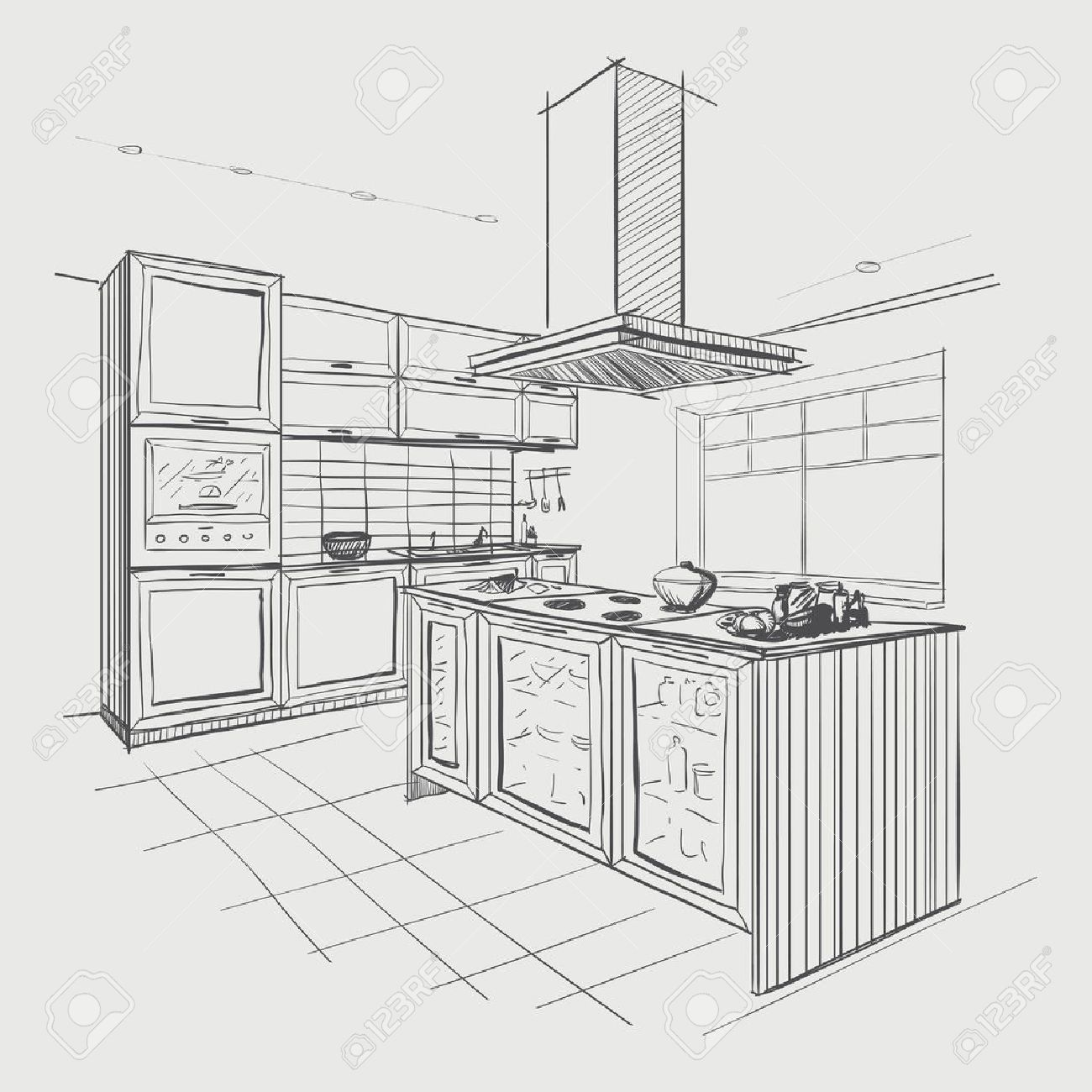 interior sketch of modern kitchen with island. royalty free