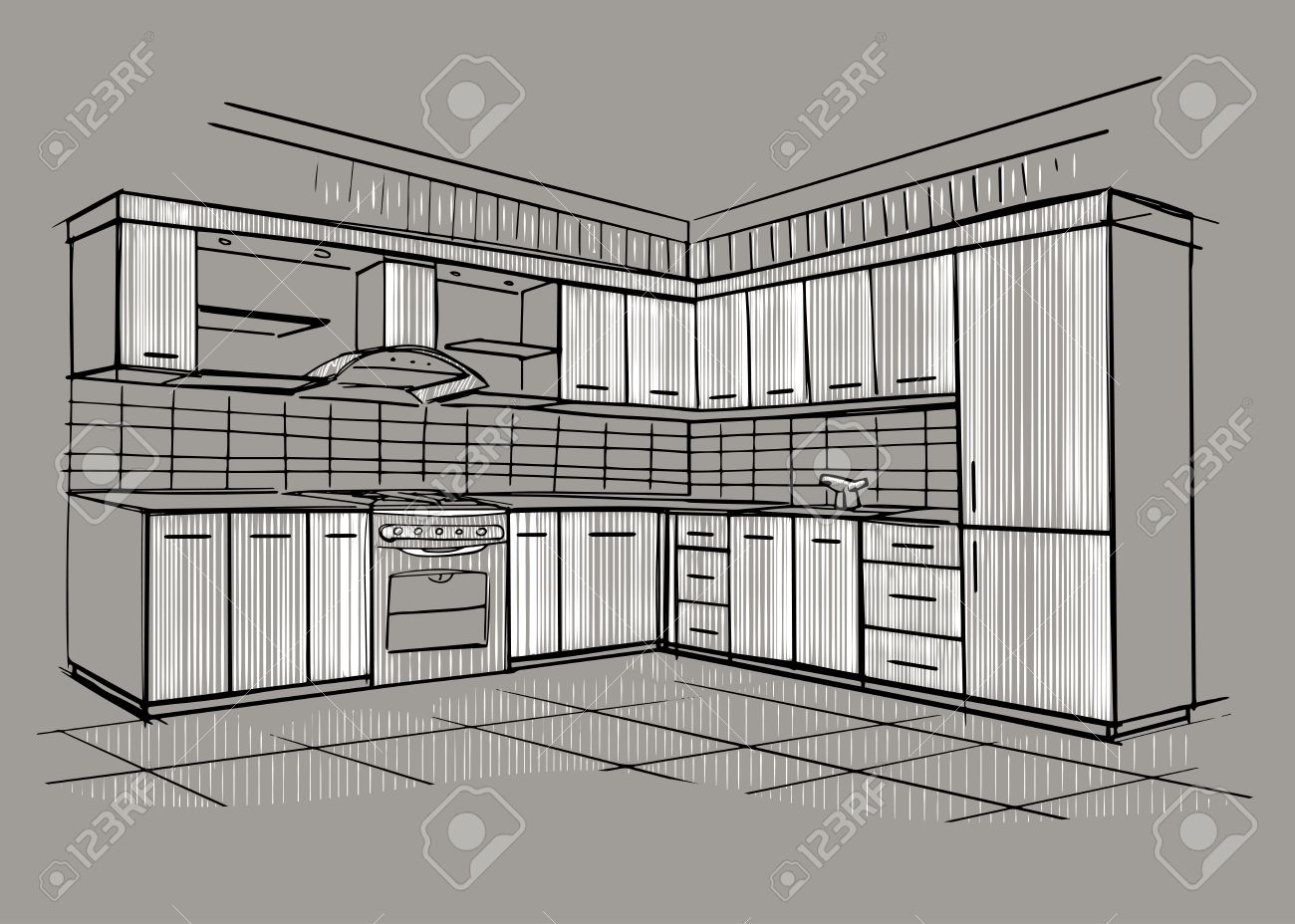Modern Interior Sketch Of Corner Kitchen. Design House. Architecture. Stock  Vector   41566837