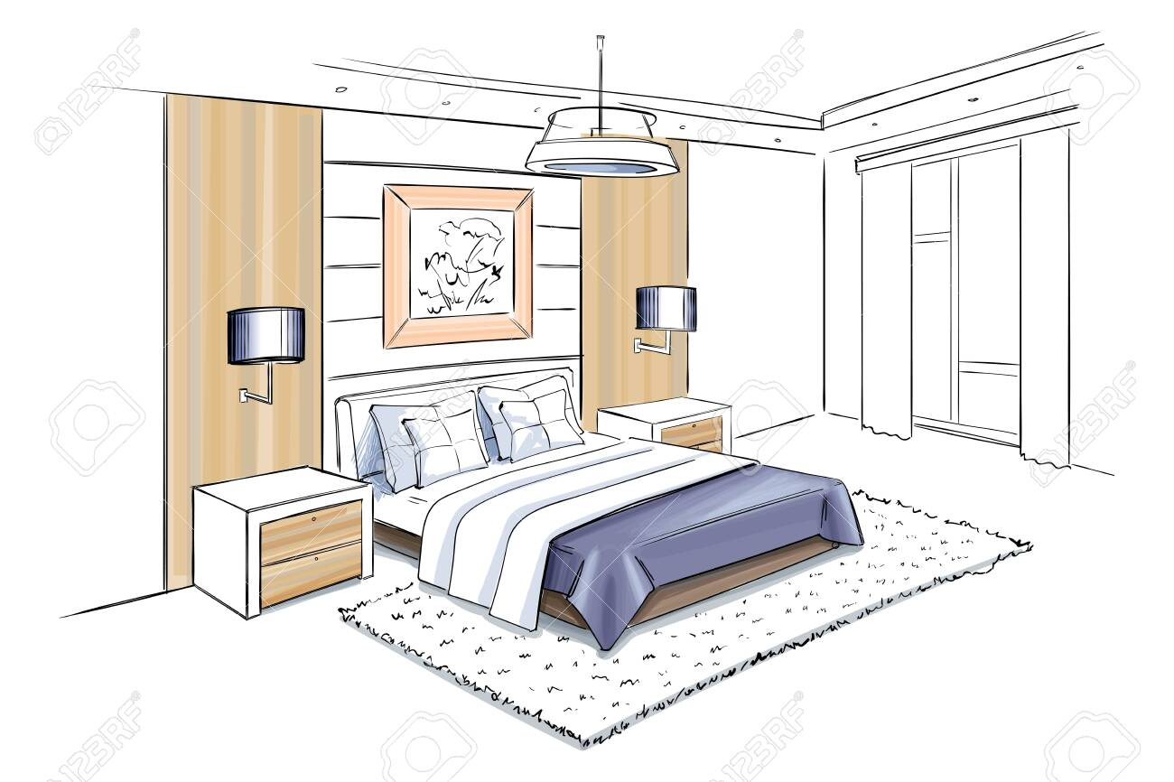 Vector interior sketch design of bedroom.