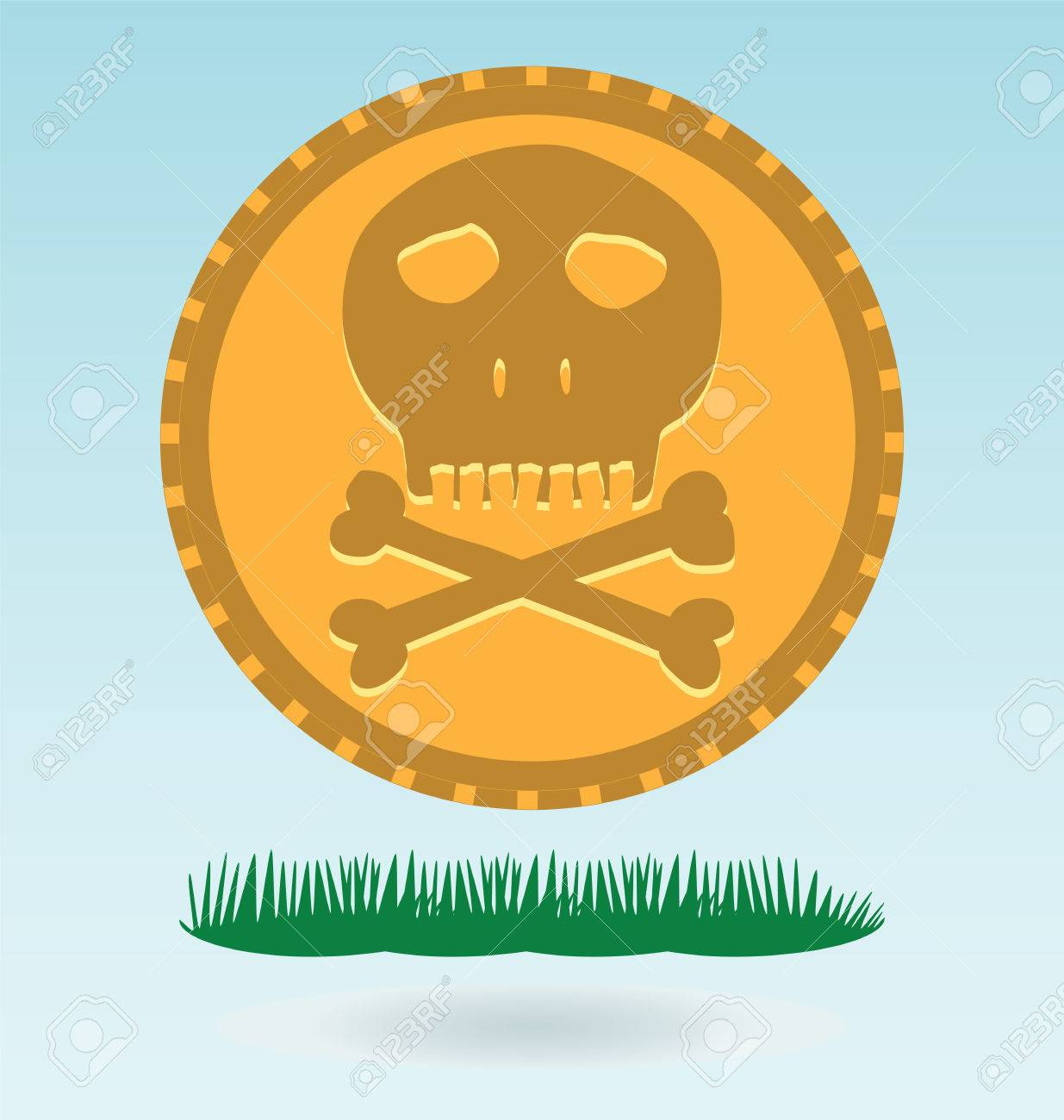 Gold Coin With A Skull And Crossbones Symbol Of Pirates Danger