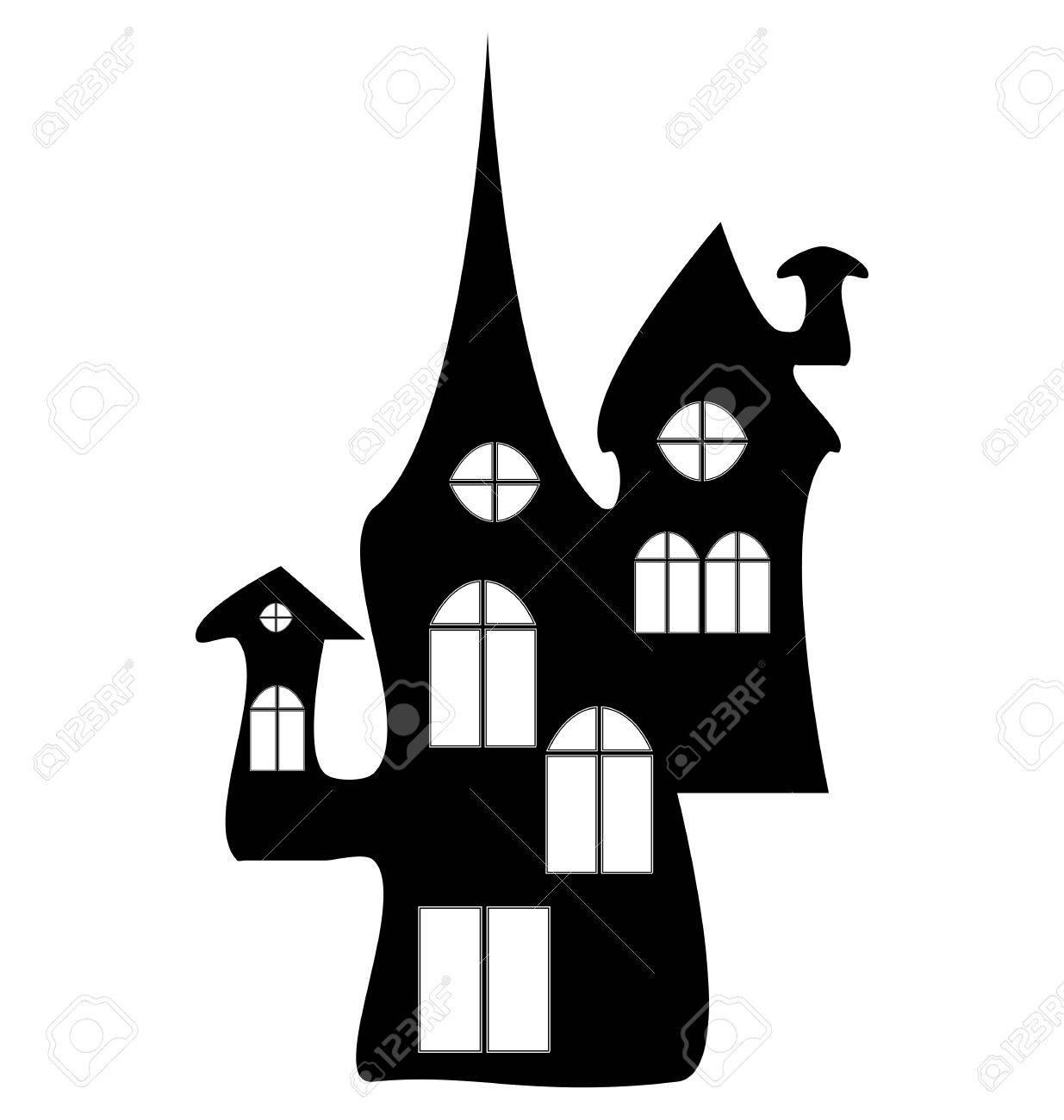 Banque dimages halloween le château de la sorcière silhouette icône de maison