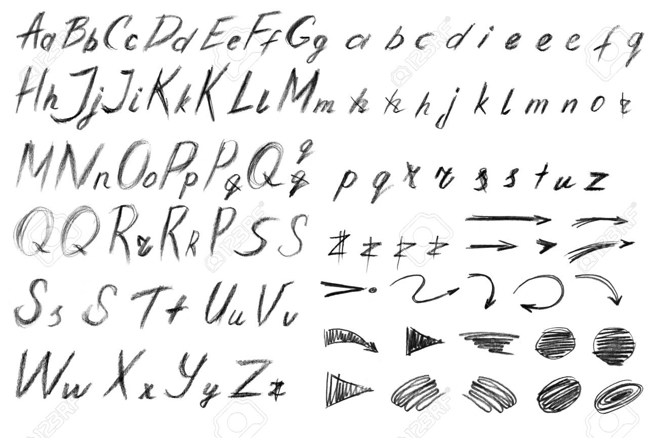 alphabet freehand drawing with a pencil template for labels
