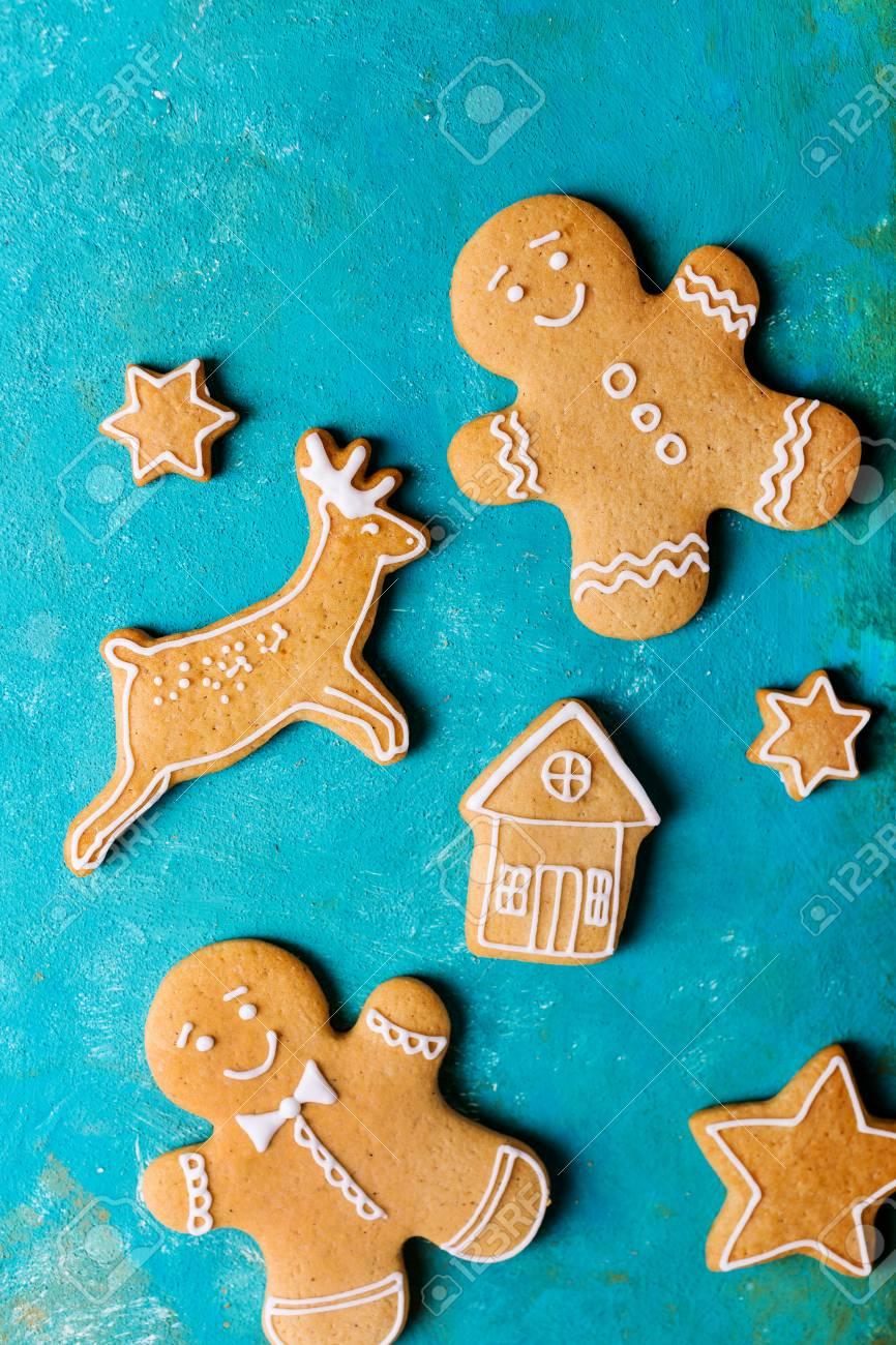 Glasur Weihnachtsplätzchen.Stock Photo