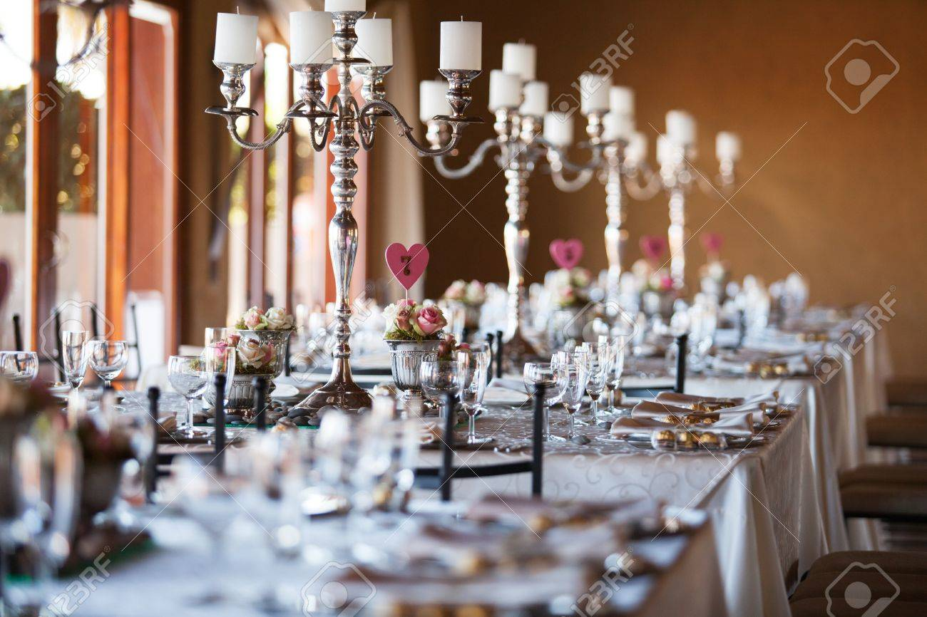 Beautifully Decorated Tables With Candelabra At Wedding Reception,  Selective Focus Stock Photo   19134957