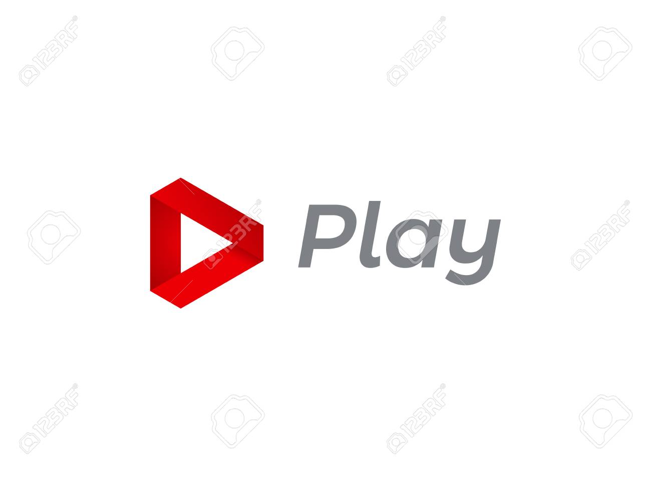 Play logo icon for music and tv digital audio or video movie player design. Vector play triangle red flat music or audio and video interface arrow and web multimedia application icon template - 97654054
