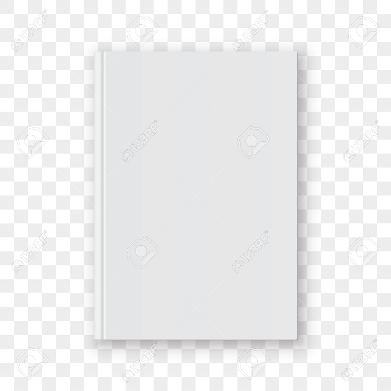 Book cover blank white vertical design template. Empty vector book cover model mock up isolated on transparent background. - 99163990