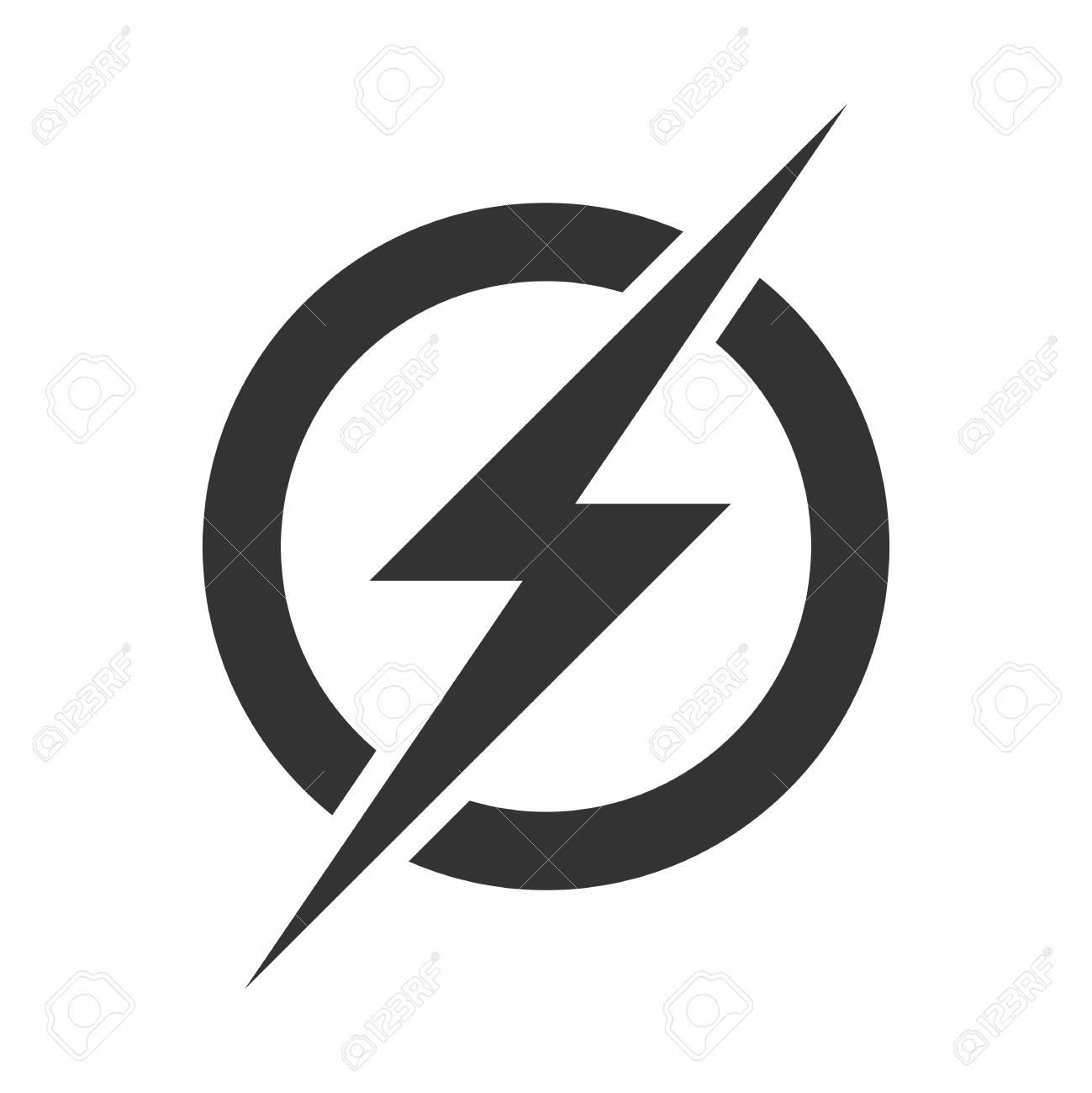 Power lightning logo icon. Vector electric fast thunder bolt symbol isolated on transparent background - 99974763